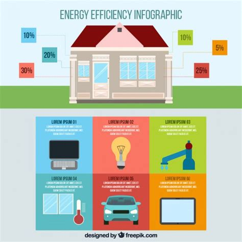 house energy efficiency house with infographic elements about energy efficiency