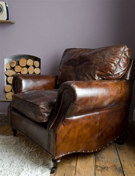 Brown Armchair Design Ideas Furniture Armchair For Distressed Leather Sofa With Purple Wall And Wall Wood Storage Plus