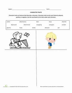 Character Traits Worksheet 3rd Grade by Listing Character Traits Worksheet Education