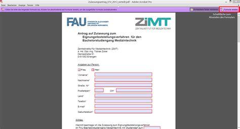 Bewerbung Hochschule Per Einschreiben Medizintechnik Studium Fau Erlangen N 252 Rnberg Bewerbung