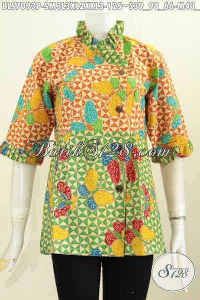 desain baju kerah keren baju batik wanita trendy blus batik modern desain kerah