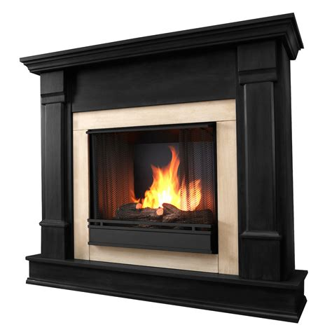 real flame silverton ventless gel fireplace in black