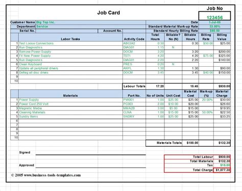 Labor And Material Cost Estimator Job Card Template Excel Production Rate Card Template