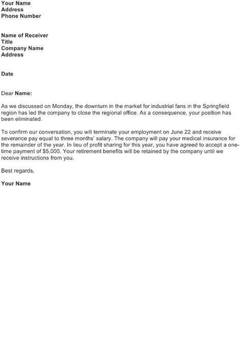 termination letter sample business letter