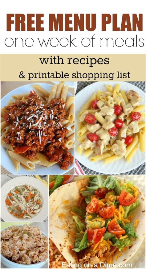 printable dinner recipes free meal plan recipes and shopping list printables