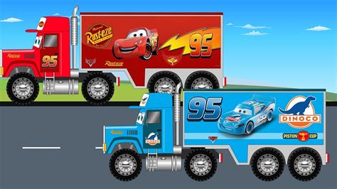 de trucks disney lightning mcqueen and dinoco big truck for