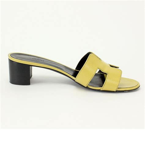 hermes h sandals auth hermes oasis h logo sandals slippers 38 1 2 yellow