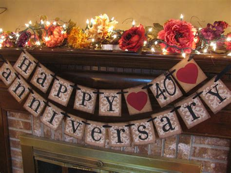 Ruby Wedding Anniversary 40th Banner Sign by
