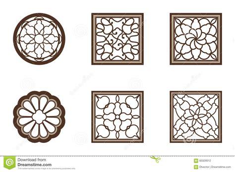 pattern window frame modern circle chinese pattern window frame cartoon vector