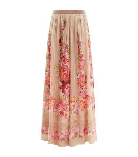 alberta ferretti pleated floral silk maxi skirt in