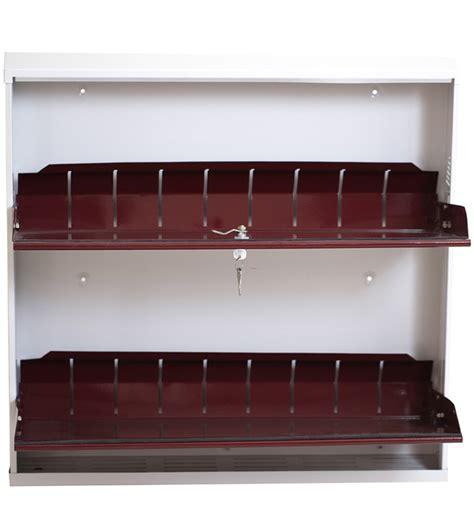 Wall Shoe Shelf by Space Saving Wall Mounted Two Shelf Jumbo Shoe Rack In