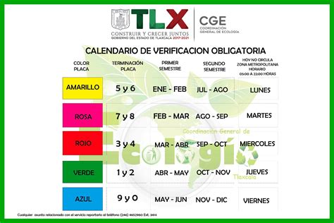 Calendario Verificacion Vehicular Calendario De Verificacion Tlaxcala 2016 New Style For
