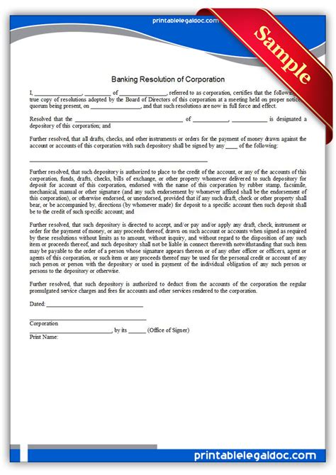 llc resolution template free printable banking resolution of corporation form
