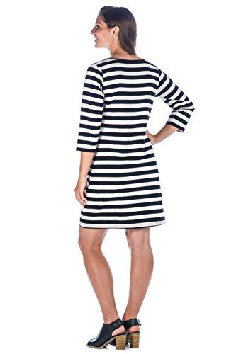Premium Knit Stripe Dress womens premium cotton knit dress rugby stripe black