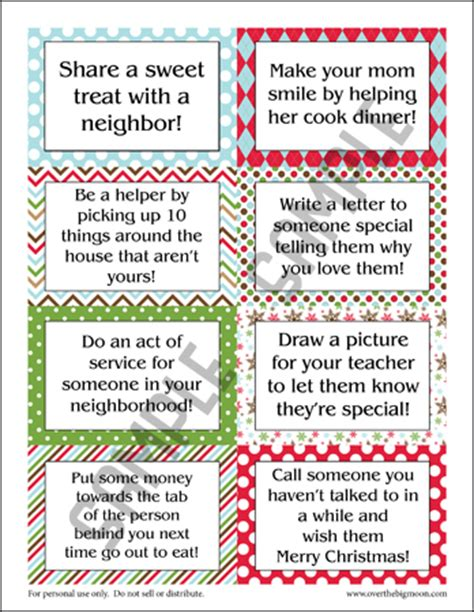 printable kindness elf ideas holiday good deed cards not for our elf on the shelf