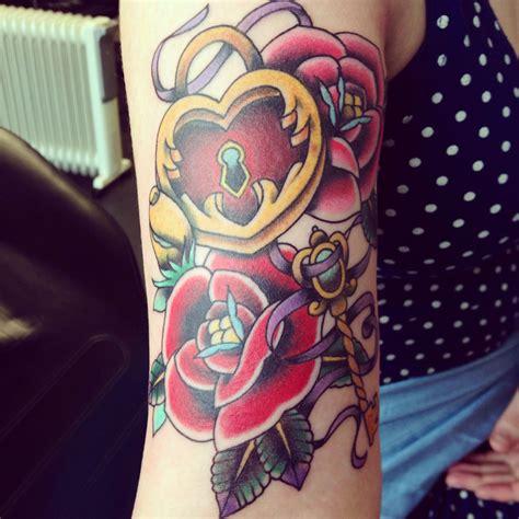 locket rose tattoo locket key roses traditional