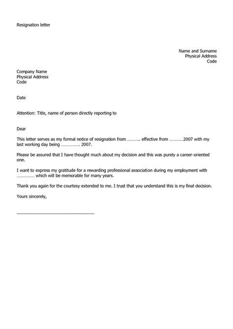 Sle Resignation Letter It Professional by Professional Resignation Letter