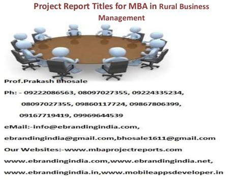 Mba In Rural Management by Project Report Titles For Mba In Rural Business Management