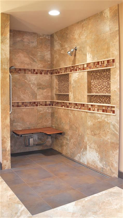 Bathroom Countertop Tile Ideas Preformed Receseed Shower Niche Traditional Bathroom