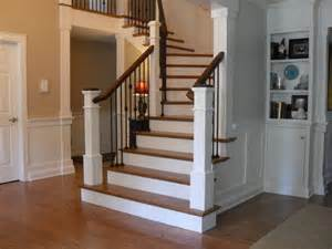 Wainscoting Spacing - box newels amp wought iron traditional staircase portland by portland stair company