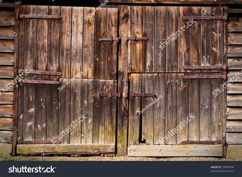 wooden barn doors wooden barn door stock photo 73089958
