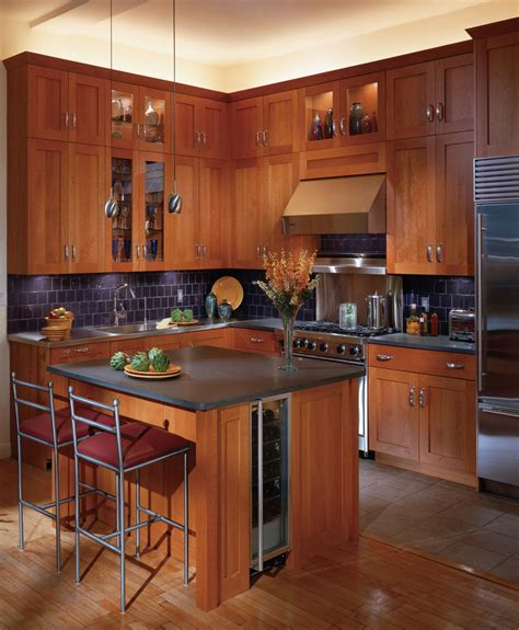 Cherry Cabinets Kitchen Contemporary With Custom Built In Kitchen Countertop Lighting