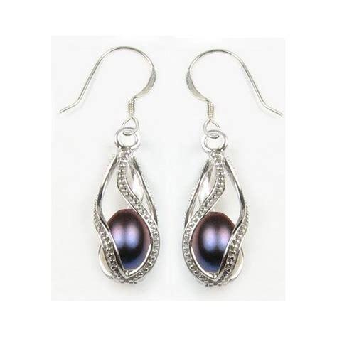 boucle d oreille perle noir cage argent tarawa bijoux