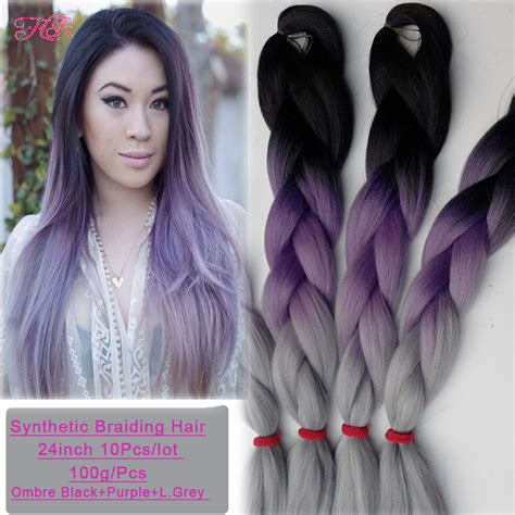 kanekolan hair black white grey 10pcs kanekalon braiding hair purple grey synthetic