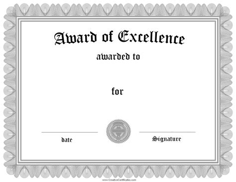 White Sertifikat black and white printable certificate excellence template