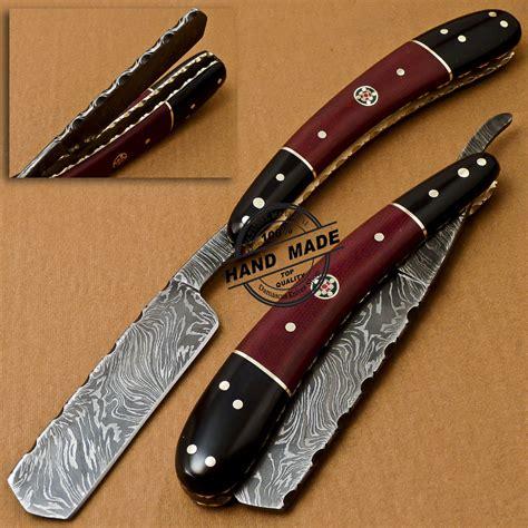 damascus razor custom handmade folding damascus razor knife with mictra