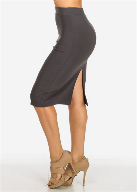 Slit Back Midi Skirt high waisted bodycon grey midi skirt with back slit in skirts