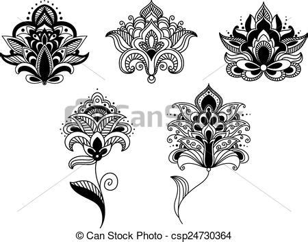 clip art vector of black lace paisley flowers in persian