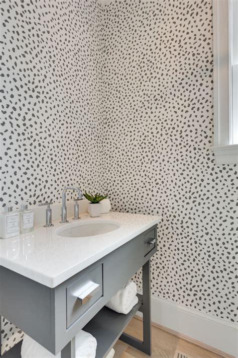 powder room with thibaut tanzania wallpaper contemporary