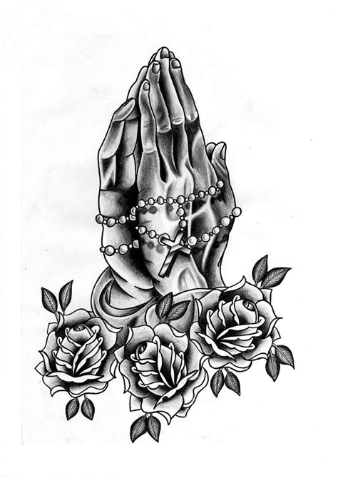 praying hands with rosary and roses drawings great drawing
