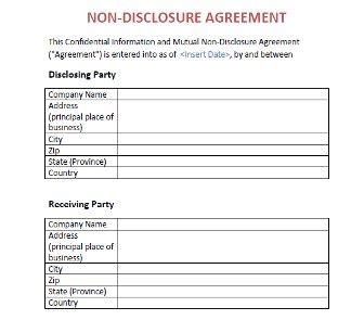 Non Disclosure Agreement Nda Template Template Org China Nda Template