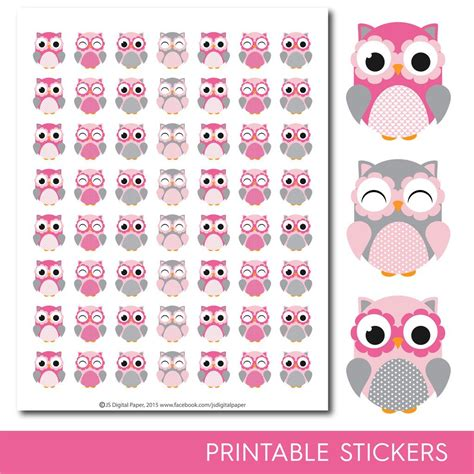 printable owl stickers pink owl stickers owl planner stickers owl sticker