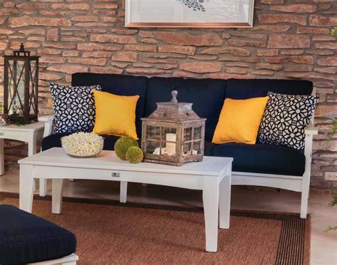 Patio Sofa Set Clearance Poly Lumber Classic Terrace Sofa W Sunbrella Cushions