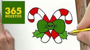 como dibujar baston navidad kawaii paso a paso dibujos