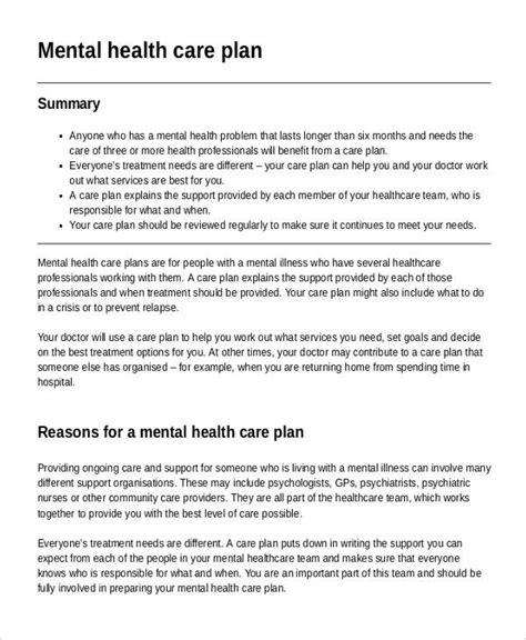 Mental Health Care Plan Templates 8 Free Sle Exle Format Download Free Premium Mental Health Crisis Plan Template