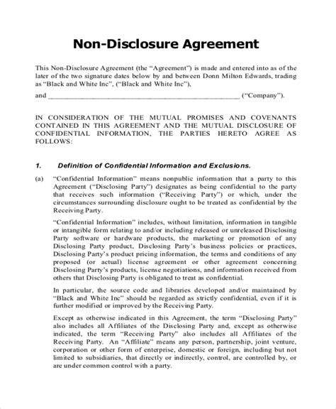 agreement document template non disclosure agreement form 9 free word pdf