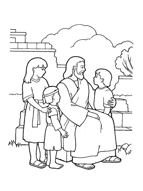 Lds Nursery Coloring Pages free coloring pages of jesus blessing the children