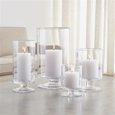candel holder glass hurricane candle holders crate and barrel