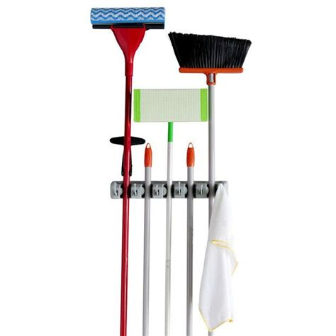 Rack For Brooms And Mops by Evelots Mop And Broom Holder 5 Position Wall Mounted