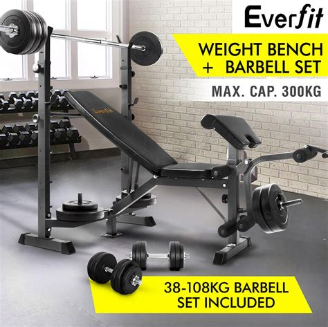 complete weight bench set multi station weight bench 38 108kg barbell set weight