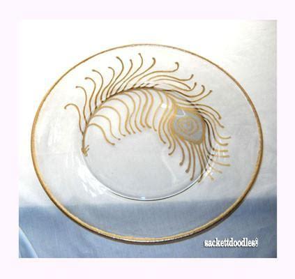 peacock feather oval art glass dish pelican teapot painted porcelain serveware coastal home decor sky spirit studios llc