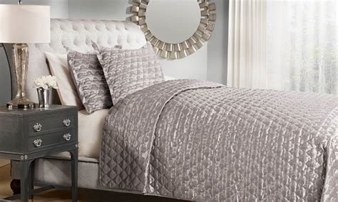 silk quilted coverlet satin quilted coverlet 3 piece set groupon