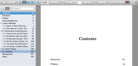 displaying sections in table of contents side bar of pdf