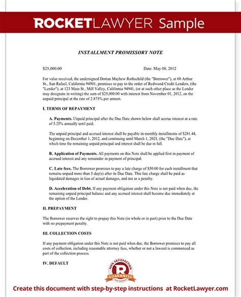 installment promissory note template free installment promissory note promissory note with