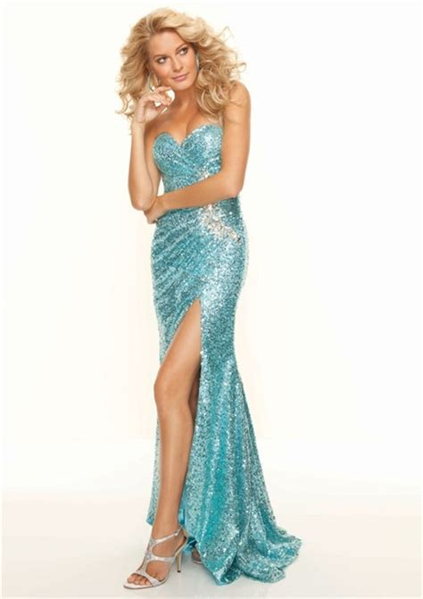 Sequined Prom Dress trumpet mermaid sweetheart floor length blue sequined prom