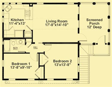 2 bedroom guest house plans ar 020 2nd floor kitchen large living room 2 bedrooms